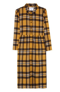 Mustard Check Shirt Dress