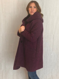 Wool Coat in Mulberry