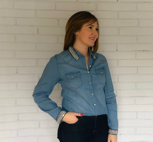 Embellished Denim Blue Shirt