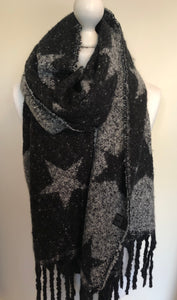 Large Star Scarf - Black/Grey
