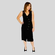 Load image into Gallery viewer, Black Button Detail Midi Dress
