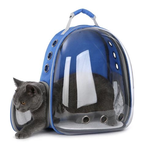 Cat Carrier Transparent Capsule Backpack Blue