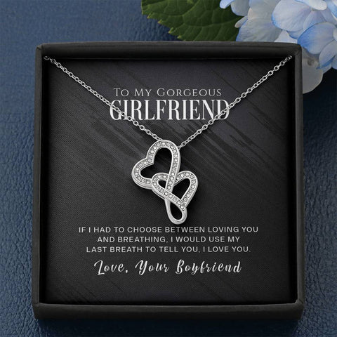 To My Gorgeous Girlfriend - Double Hearts Necklace - Carteese