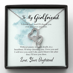 To My Girlfriend - Double Hearts Necklace