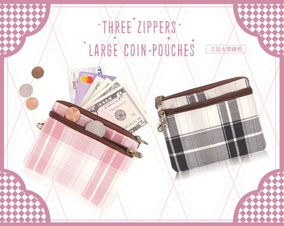 Triple Zipper Coin Pouch