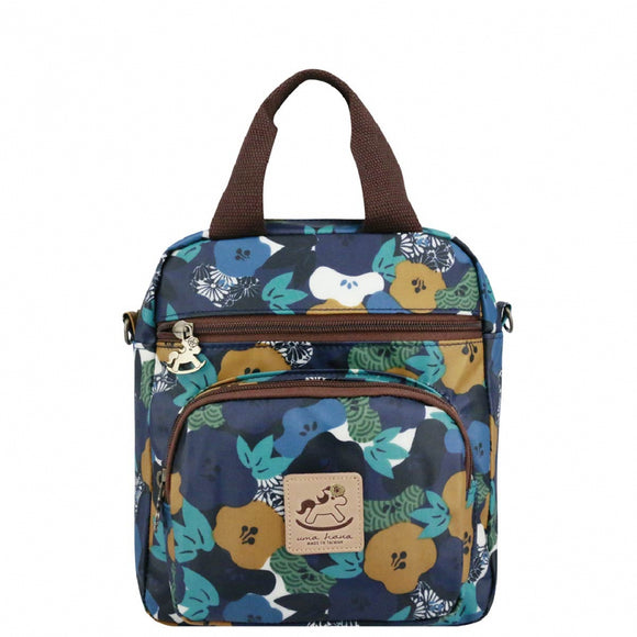 Caramel Triple Usage Bag | UMA226 | Japanese Big Flower Blue