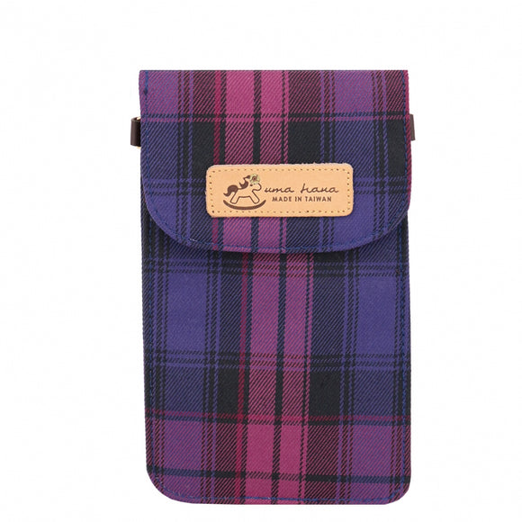 Flip Handphone Pouch w Strap | UMA151CH | Checkered Purple