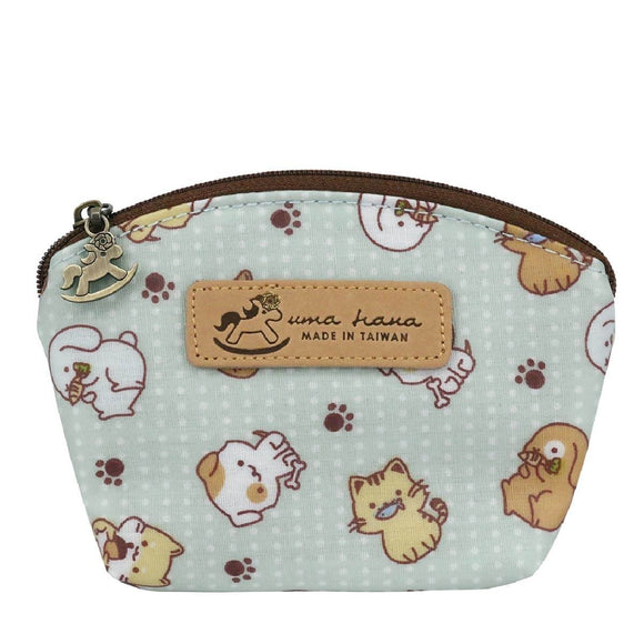 Shell Coin Pouch with Keyring | UMA166 | Little Foot Prints Animals Green