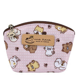 Shell Coin Pouch with Keyring | UMA166 | Little Foot Prints Animals Pink