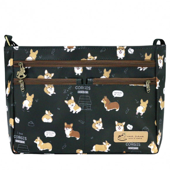 5 Zipper Crossbody Bag | 五拉包 | UMA087 | Baby Corgi Black