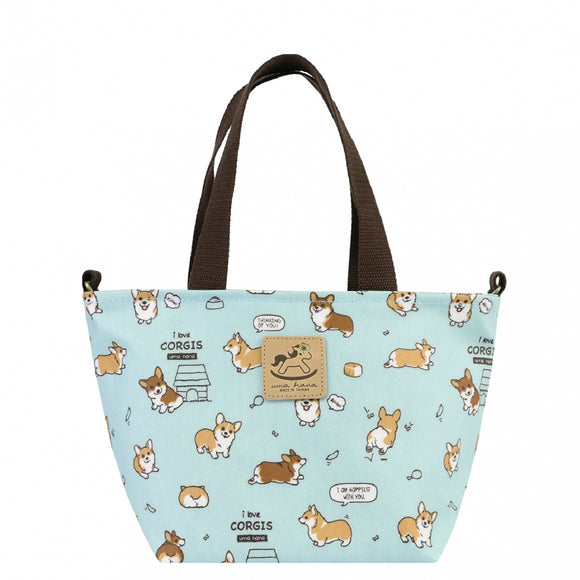 2 Way Crossbody Tote Bag | UMA156 | Baby Corgi Light Blue