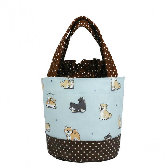 *NEW ARRIVAL* Uma hana Waterproof Round Lunch Bag | 圓便當袋 | UMA211 | Baby Shiba Light Blue