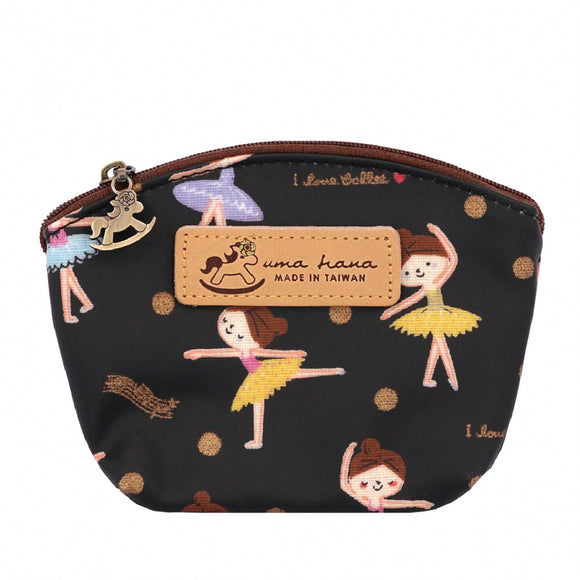 Shell Coin Pouch with Keyring | UMA166 | Ballet Waltz Black