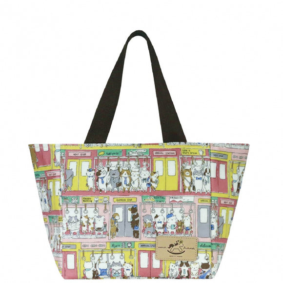 Uma hana Waterproof Square Tote-Lunch Bag  | UMA192 | Cat on Public Transport
