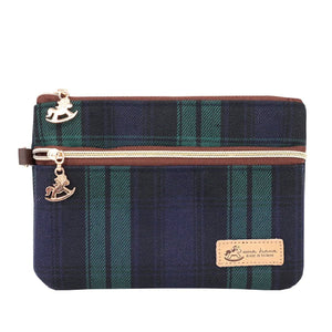 Uma hana Waterproof Checkered Double Zipper Wristlet Storage Bag | UMA205CH | Checkered Green