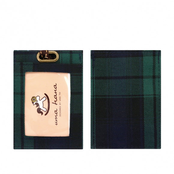 Flat Lanyard Card Holder | UMA095CH | Checkered Green