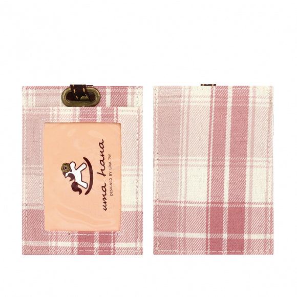 Flat Lanyard Card Holder | UMA095CH | Checkered Pink