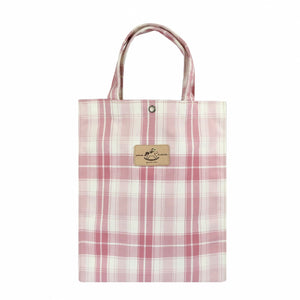Uma hana Waterproof Checkered Button A4 Document Bag | UMA100CH | Checkered Pink
