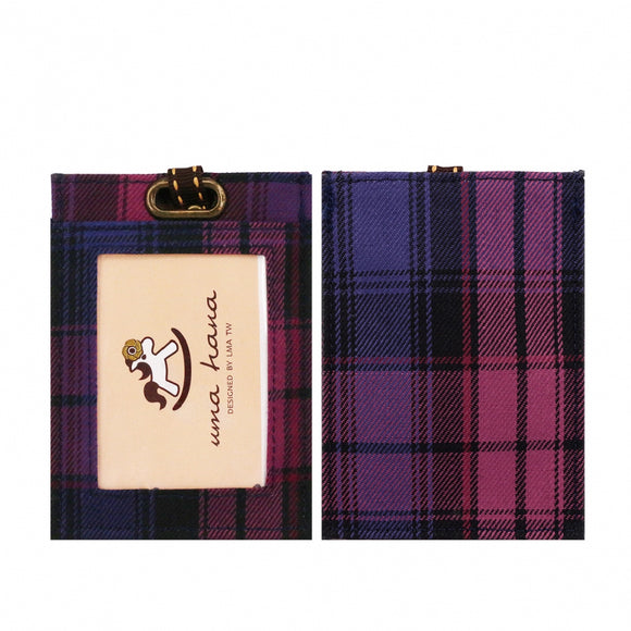 Flat Lanyard Card Holder | UMA095CH | Checkered Purple