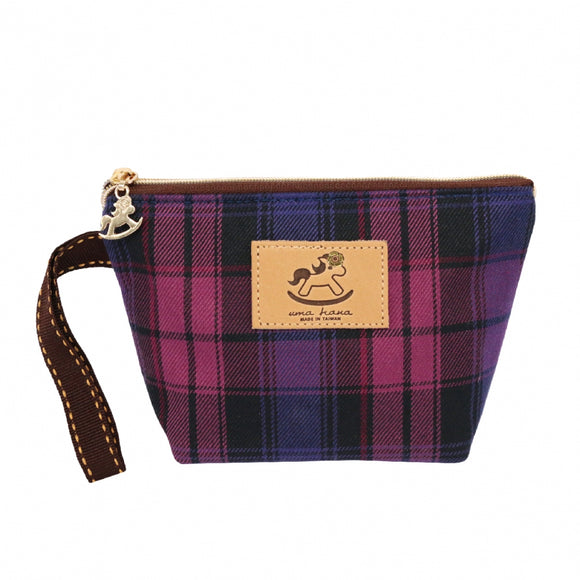 Dumpling Cosmetic Pouch (S) | UMA007CH | Checkered Purple