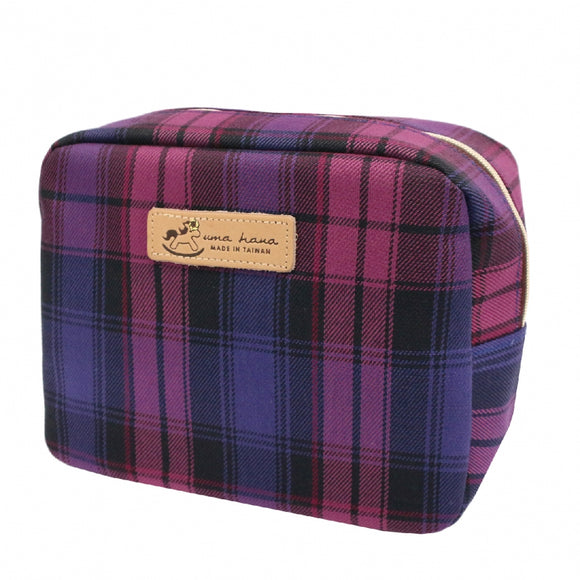 *Exclusive online* Waterproof Checkered Cube Cosmetic Pouch | UMA019CH | Checkered Purple