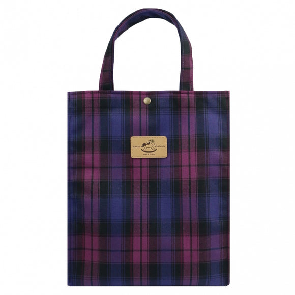 Uma hana Waterproof Checkered Button A4 Document Bag | UMA100CH | Checkered Purple