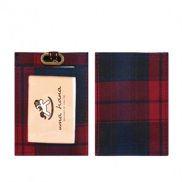 Flat Lanyard Card Holder | UMA095CH | Checkered Red