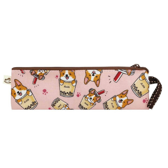 Waterproof Short Chopstick Pouch | UMA222 | Corgi Bubble Tea Pink