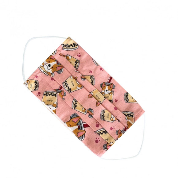 Zipper A4 Document Bag | UMA004 | Corgi Bubble Tea Pink