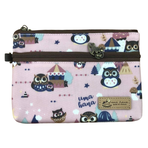 Double Zipper Wristlet Storage Bag | UMA205 | Cute Owl Pink