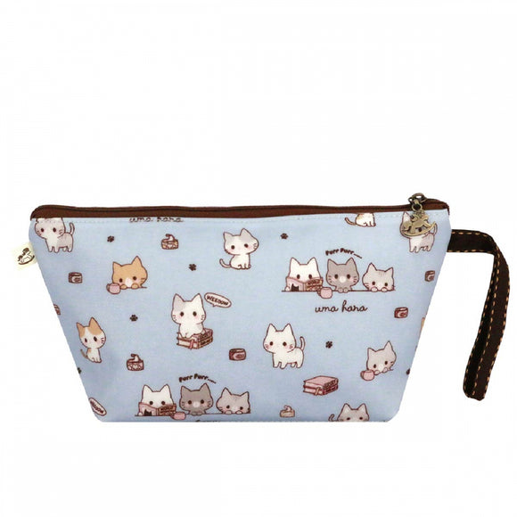 Double Zipper Keyring Coin Pouch (S) | UMA012 | Cutie Footprint Cat Dark Blue