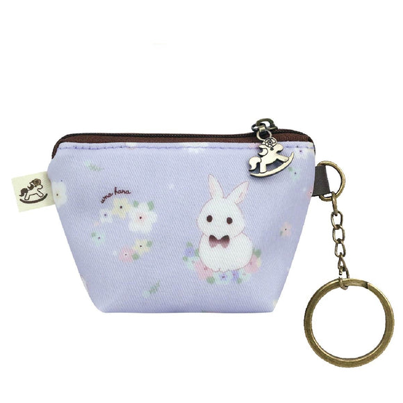 Box Coin Pouch | UMA232 | Flower Bunny Pastel Purple