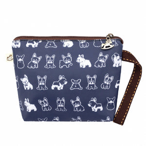 Mini Cosmetic Wristlet Pouch  | UMA153 | French Bull Dog Blue