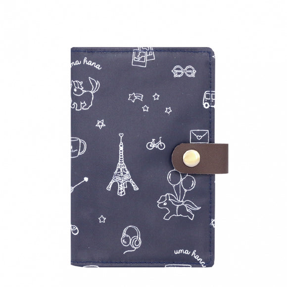 Waterproof Button Passport Cover | UMA096 | Magic Square Dark Blue