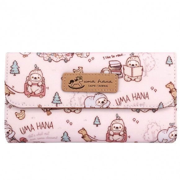 Multi Card Holder Long Wallet | UMA229 | Sloth Pink