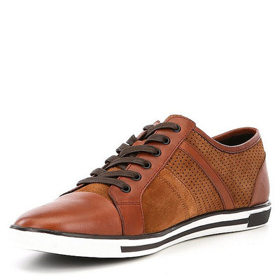 Kenneth Cole Men's Size 11 Rust Leather Cap Toe Sneakers - VendaStores