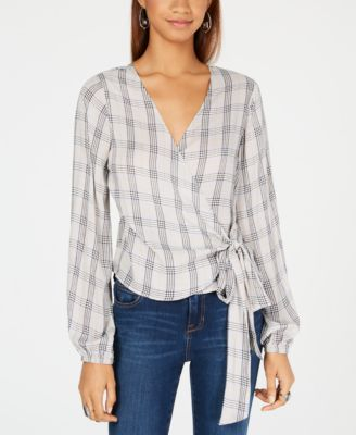 Polly & Esther Faux Print Wrap Blouse