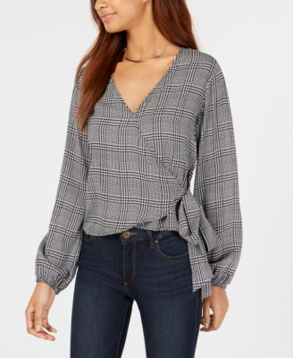 Polly & Esther Houndstooth-Print Wrap Blouse