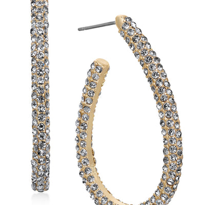 Charter Club Gold-Tone Pavé Elongated Hoop Earrings - VendaStores