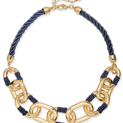 Charter Club Gold-Tone Link Braided Cord Collar Necklace - VendaStores