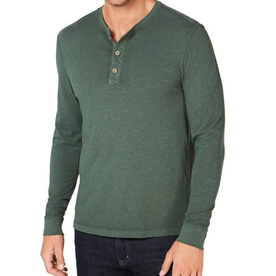 Club Room Men's Garment Dyed Henley Green - VendaStores