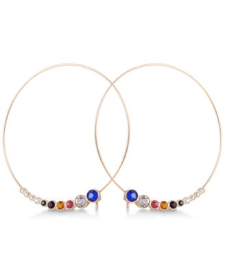 GUESS Multicolor Crystal Hoop Earrings Silver - VendaStores