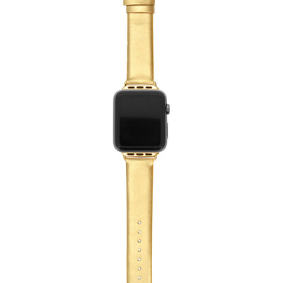 I.N.C. Women's Metallic Gold-Tone Faux Leather Apple Watch Strap 38mm - VendaStores