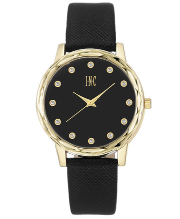 I.N.C. Women's Black Faux Leather Strap Watch 38mm with Interchangeable Bezel