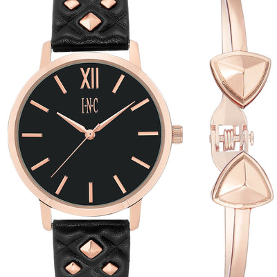 I.N.C. Women's Faux Leather Strap Watch 38mm Gift Set BlackRose - VendaStores