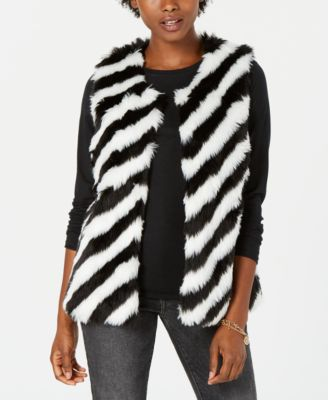 Say What? Fur Cropped Vest in Striped Black & White Size M