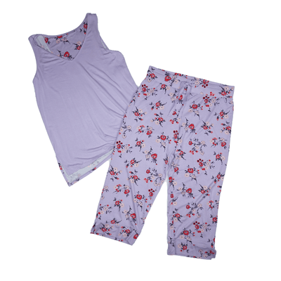 Alfani Womens Lilac Multi Sizes Printed-Panel Pajama Sets - VendaStores