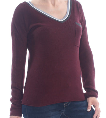 Hippie Rose Womens Burgundy Pocketed Ribbed Long Sleeve Top Juniors