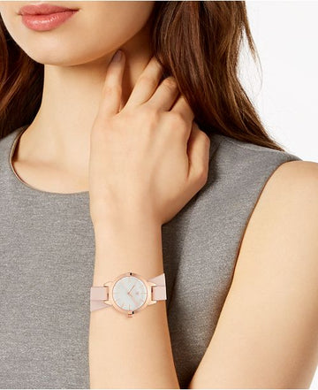 I.N.C. Women's Blush Faux Leather Double Wrap Strap Watch 30mm