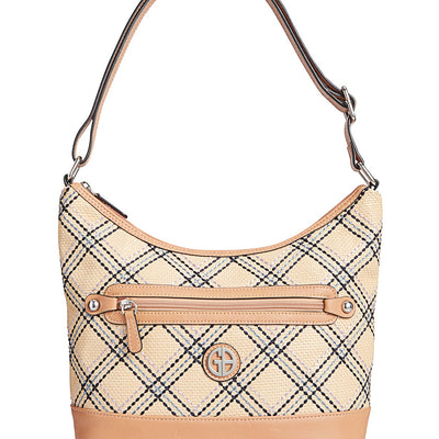 Giani Bernini Straw Plaid Hobo - VendaStores